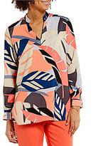 Vince Camuto Modern Tropics V-Neck Long Sleeve Printed Tunic
