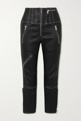 Alexander McQueen Cropped Zip-embellished Topstitched Leather Leggings - Black