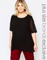 Junarose Short Sleeve Top With Sheer Overlay