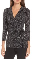 Anne Klein Women's Dot Print Faux Wrap Top