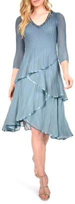 Komarov Tiered Chiffon Dress