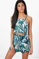 boohoo Paige Palm Print Crop & Shorts Co-ord Set