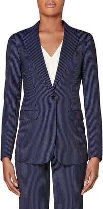SUISTUDIO Cameron Pinstripe Wool Suit Jacket