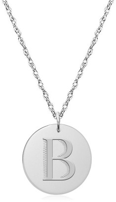 Jane Basch 14K Engraved Initial Disc Necklace (A-Z)