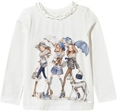 Mayoral Cream and Blue Fashion Girls with Dogs Print Tee
