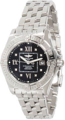 Breitling Black Stainless Steel and Diamond Galactic A71356 Women's Wristwatch 32MM