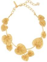 Oscar de la Renta Goldtone Eucalyptus Leaf Choker Necklace