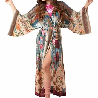 Cutebility Women Beach Swimsuit Cover Up Boho Floral Printed Open Front Kimono Cardigan Long Sleeves Belted Wrap Front Side Split Maxi Robe