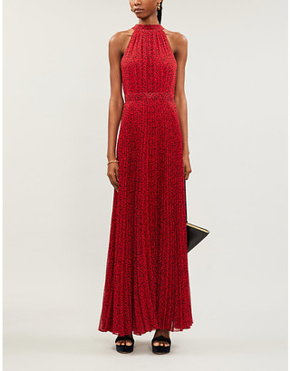 Alice + Olivia Alice & Olivia Kelissa halter-neck pleated printed crepe maxi dress