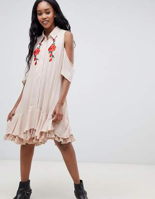Glamorous cold shoulder shirt dress with embroiderry detail-Pink