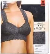 Felina Lingerie Women's Size Medium 2-Pack Lace Bralette, Black/Grey
