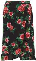 Dorothy Perkins Black and Pink Rose Ruffle Midi Skirt