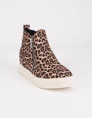 Soda Sunglasses Zip Platform Leopard Womens Shoes