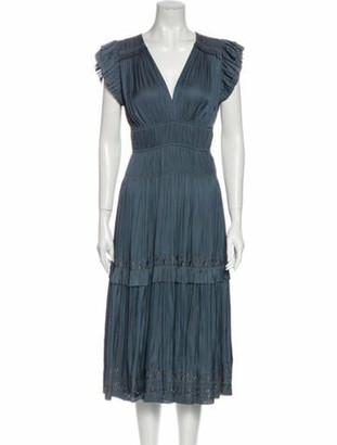 Ulla Johnson V-Neck Midi Length Dress Blue