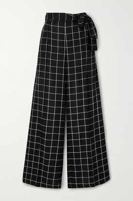 Mother of Pearl Net Sustain Wendy Belted Checked Twill Wide-leg Pants - Black