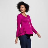 Expected by Lilac Maternity Solid Long Sleeve Peplum Top Orchid