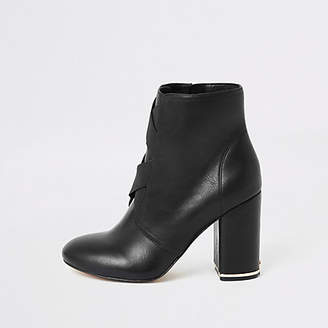 River Island Black elasticated cross front heeled boots