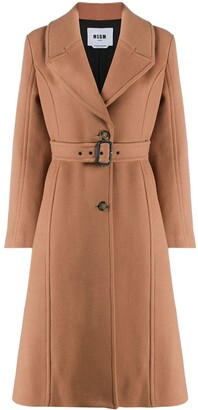 MSGM Belted Single-Breasted Coat