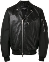 DSQUARED2 leather bomber jacket - men - Calf Leather/Polyester - 48
