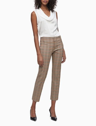 Modern Ankle Fit Stretch Camel Plaid Pants