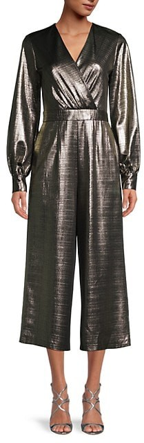 AUTH Ted Baker TWIGGA Metallic wrap jumpsuit GOLD,Ted Size 0-5