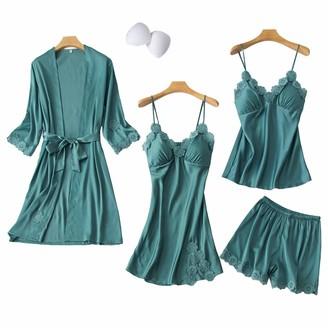 Chongmu Womens Silk Cami Satin Shorts Sexy Sleepwear Pyjama Sets 4pcs Yellow S-M