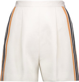 MSGM Pleated striped linen and cotton-blend shorts