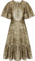 Co Ruffled Metallic Velvet Dress - Gold