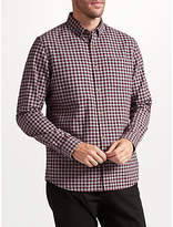 John Lewis Brushed Gingham Shirt, Wine