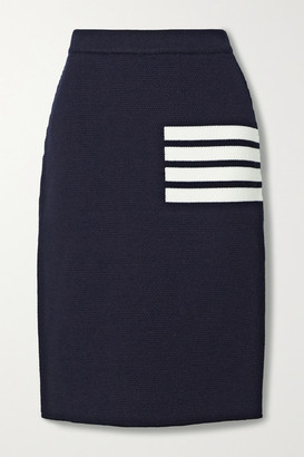 Thom Browne Striped Merino Wool-blend Skirt - Navy