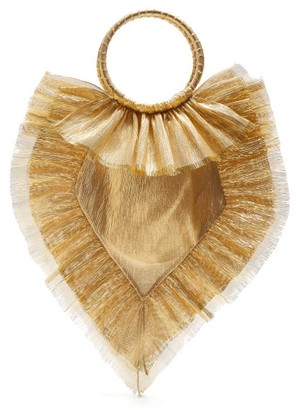 The Vampire's Wife Ruffle Trimmed Woven Clutch - Womens - Gold