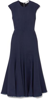 Gabriela Hearst Crowther Frayed Crepe Midi Dress