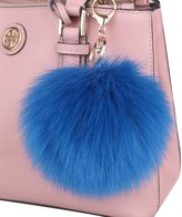 Genda 2Archer 2Pcs/Set 10CM Faux Fur Pom Pom Ball Keychain for Car Key Ring and Bag
