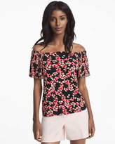 White House Black Market Off-the-Shoulder Floral Pleated Sleeve Top