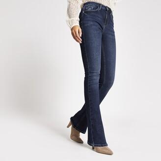 River Island Womens Dark Blue high rise flare bootcut jeans