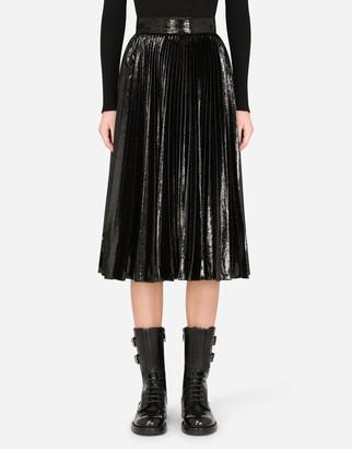 Dolce & Gabbana Pleated Midi Skirt In Flowing Lame Velvet