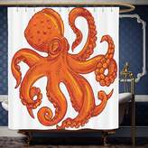 Wanranhome Custom-made shower curtain OctopusOctopus Pattern Illustration Underwater World Wild Nature Themed Artwork Print Orange White For Bathroom Decoration