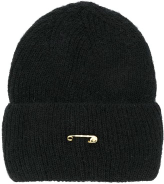 Versace Safety Pin Detail Knitted Beanie