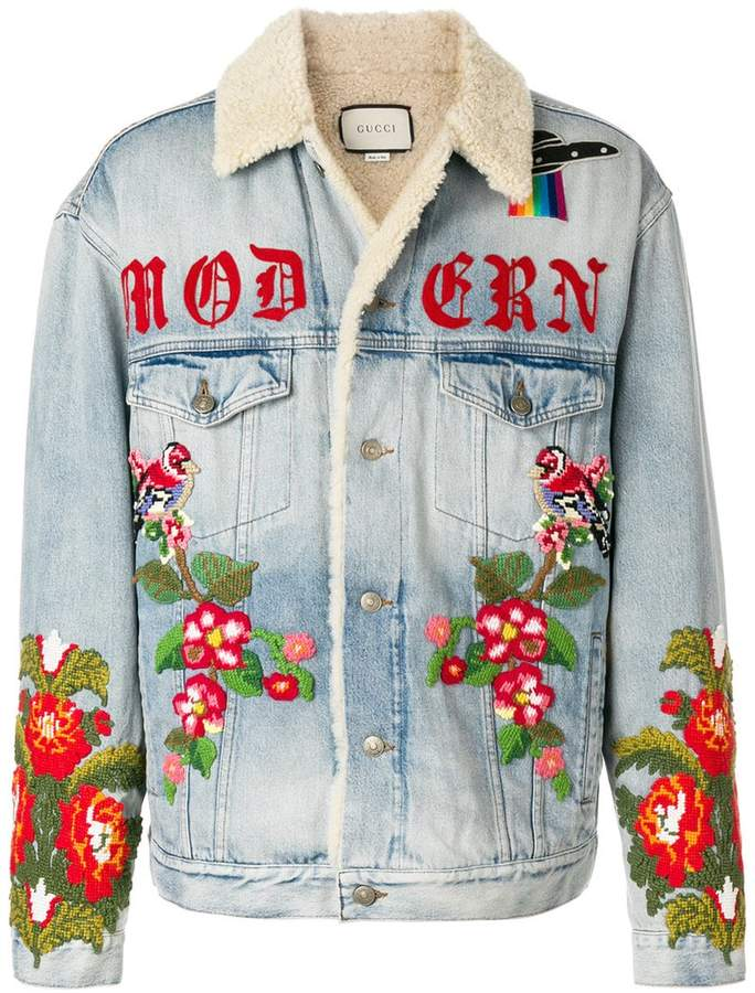 Gucci shearling lined denim jacket with embroidery
