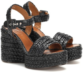 Clergerie Arum raffia wedge sandals