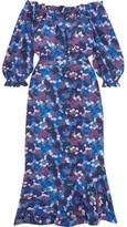 Saloni Grace Off-the-shoulder Floral-print Silk-crepe Dress - Blue