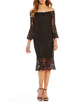 Jax Off-the-Shoulder Lace Sheath Dress