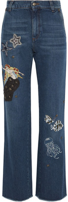 RED Valentino Embellished High-rise Straight-leg Jeans