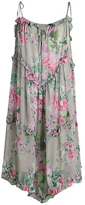 Stellah Floral Ruffle-Trim Midi Dress
