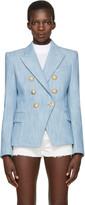 Balmain Blue Tweed Six-Button Blazer