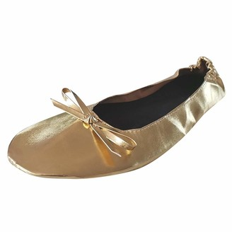 TEELONG Women's Ballet Flat Foldable Portable Travel Flat Roll Slipper Shoes Dance Party Shoes Comfort Casual Roud Toe Loafers Shoes Size 6.5-9.5 UK Gold