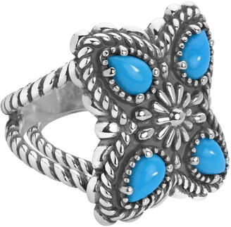 American West Sterling Sleeping Beauty Turquoise 4-Stone Ring