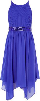 Monsoon Chiffon Hanky Hem Prom Dress Blue