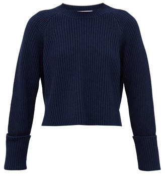 Proenza Schouler White Label Cropped Ribbed Cotton-blend Sweater - Navy