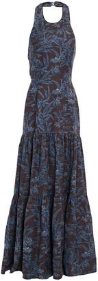 Rebecca Vallance Tiered Printed Linen-blend Halterneck Maxi Dress